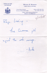 Note from Michael Mahoney to Donna Loring, April 15, 2008. by Michael Mahoney