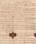 Letter from William Frost to Sally W. Frost, January 25, 1818.