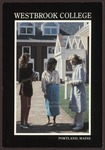 Three Students at the Abplanalp Library Courtyard Entrance, Westbrook College, 1987