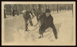 Shoveling Snow on the Westbrook Seminary Campus, Winter, 1918-1919