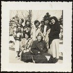 Seven Westbrook Junior College Students Pose in Winter Coats, Late 1940s