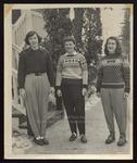 Three Westbrook Junior College Students in Ski Togs, 1950s