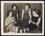Four Students with Demitasse Cups, Westbrook Junior College, 1957
