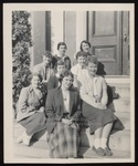 Eight Westbrook Junior College Students on Alumni Hall Steps, 1950s