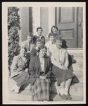 Eight Westbrook Junior College Students on Alumni Hall Steps, 1950s