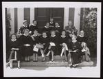 Glee Club Members on Alumni Hall Steps, Westbrook Junior College, 1957