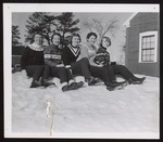 Five Students Sitting in the Snow, Westbrook Junior College, 1957