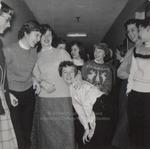 Nine Students in a Hallway, Westbrook Junior College, 1957