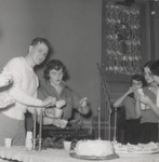 Five Students Serving Punch and Cake, Westbrook Junior College, 1957