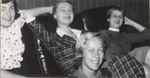 Four Students Relaxing in Leather Chairs, Westbrook Junior  College, 1957