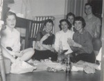 Six Students Picnic on the Floor, Westbrook Junior College, 1957