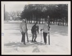 Three Students with Skis, Westbrook Junior College, 1958