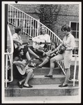 """Hootenanny Quintet"" Rehearsing on the Steps of Proctor Hall, Westbrook Junior College, 1964"