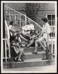 """Hootenanny Quintet"" Have a Rehearsal Break on Proctor Hall Steps, 1964"