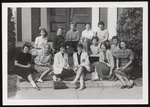 Thirteen Freshmen Related to Alumnae on Steps of Alumni Hall, Westbrook Junior College, Class of 1961