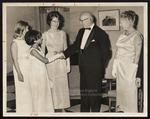 President & Mrs. Blewett Greet Three Students, President's Reception, Westbrook Junior College, 1966
