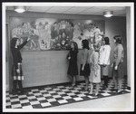 Students Viewing the Denise Schluter Mural, Alexander Hall, Westbrook Junior College, 1965