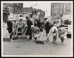Six Westbrook Junior College Students Assist with Street Cleaning, 1965