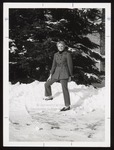 Student Modeling a Pantsuit in the Snow, Westbrook Junior College, 1967