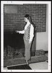 Student Standing at Wing Lounge Fireplace, Westbrook Junior College, 1969