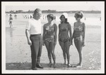 Dean Bond and Students on Beach, Westbrook Junior College, 1968