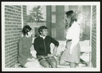 Three Students Overlook Proctor Breezeway, Westbrook College, 1970s