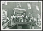 Thirteen Students on the Steps of Goddard Hall, Westbrook College, 1970s