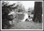 Student at Evergreen Duck Pond, Westbrook College, 1970s