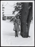 Student in the Snow Near Alexander Hall, Westbrook College, 1970s