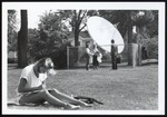 Student Studying Near Deep Dish Satellite, Westbrook College, Late 1970s