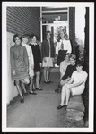 Eight Students at McDougall Open House, Westbrook College, 1970s