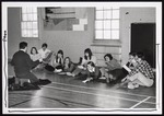 Nine Recreation and Leadership Students in McArthur Gym, Westbrook College, 1970s