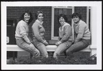 Four Students Sitting on Hersey Hall Rail, Westbrook College, Class of 1980