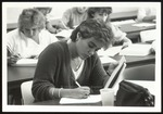 A Student Uses a Steno Pad for Dictation or Notes, Westbrook College, Mid 1980s
